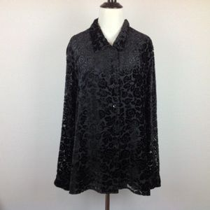 Charter Club Top Womens Large Velvet Boho Black